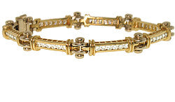 14k Two-Tone Channel Set Diamond Bracelet