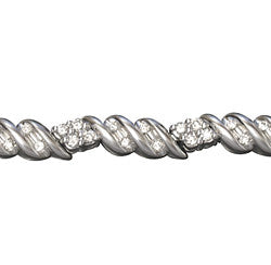 14Kt White Gold Prongs and Channel Set Diamond Bracelet