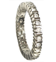 14kt White Gold Round Diamond and Verticals Eternity Band