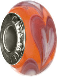 Chamilia Silver Murano Orange Row of Hearts Charm