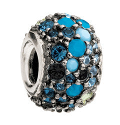 Chamilia Silver Blue & Black Jeweled Kaleidoscope Charm