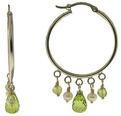 14kt White Gold Hoops w/Pearls & Peridots