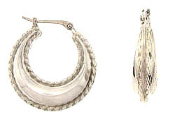 14kt White Gold Small Hoops w/Raised Beaded Rim