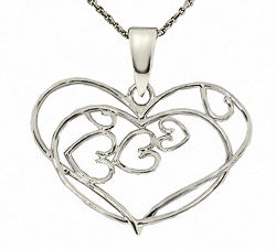 Silver Open Filagree Heart Necklace
