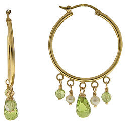 14k Yellow Gold Hoops w/Pearls & Peridot