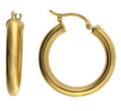 14k YG 4x25mm Hollow Tube Hoop Earring