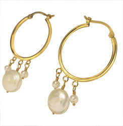14kYG Hoop Earrings w/10mm & 3mm Fresh Water Pearl