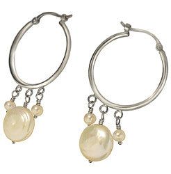 14kWG Hoop Earrings w/10mm & 3mm Fresh Water Pearl