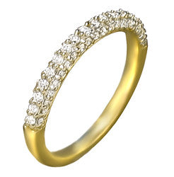 14k YG Prong Set Diamond Wedding Band