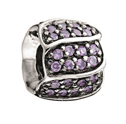 Chamilia Silver Purple CZ Jeweled Petals Charm