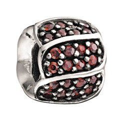 Chamilia Silver Red CZ Jeweled Petals Charm