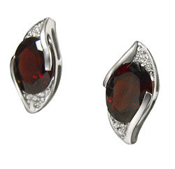 14kt WG Oval Garnet & Diamond Earrings