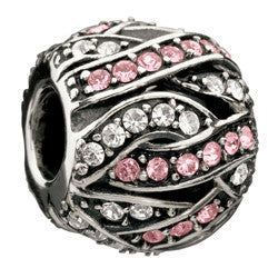 Chamilia Silver White & Pink CZ Entwined Jewels Charm