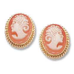 14k YG 10x8 mm Cameo Earrings