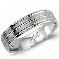 14kt WG Gents Lined Wedding Band