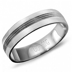 14kt WG Gents Ribbed Wedding Band