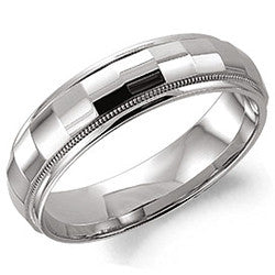 14kt WG Gts 6mm Checkerboard Center Rope Edge Wedding Band