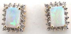 14k YG Rectangular Opal and Diamond Earrings