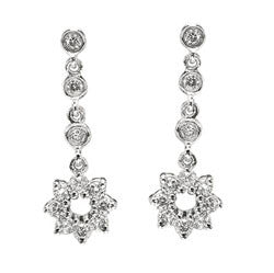 14k WG Dangle Diamond Star/Circle Earrings