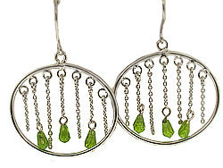Silver Oval Hoops with Green Dangling CZ Earrings