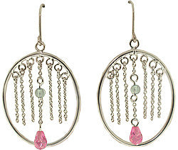 Silver Oval Hoops with Pink and Blue Dangling CZ Earrings