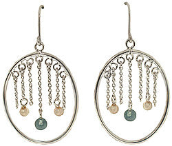 Silver Oval Hoops with Blue and White Dangling CZ Earrings
