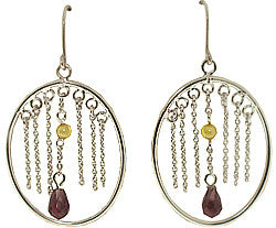 Silver Oval Hoops with Purple and Yellow Dangling CZ Earrings