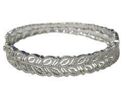 14kt WG Pave Diamond Leaf-Design Bangle