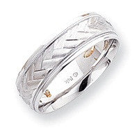 14kt WG Etched Design Wedding Band