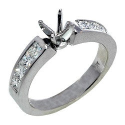 14kt WG Princess Cut Diamond Engagement Mounting
