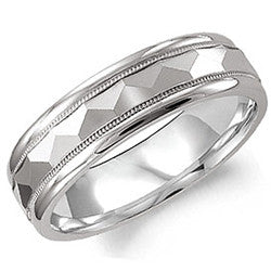 14kt WG Gents Checkerboard Wedding Band