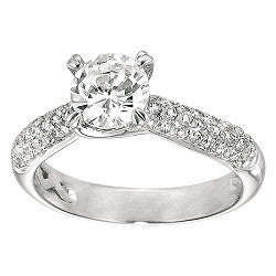 14kt WG Pave Diamond Engagement Mounting