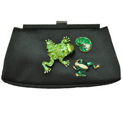 Harrison Scott Black Fabric Clutch with Frogs