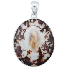 Charles Albert Sterling Silver Oval Limpet Shell Pendant