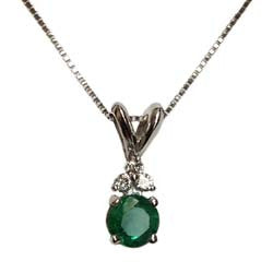 14kt WG Emerald & Diamond Necklace