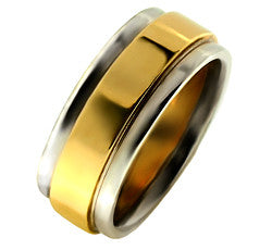 Platinum/ 18kYellow Gold Ladies Flat Wedding Band