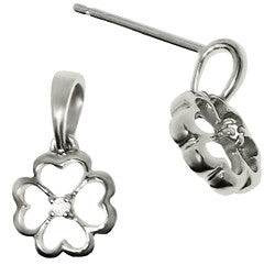 Sterling Silver Diamond Four Leaf Clover Earrings