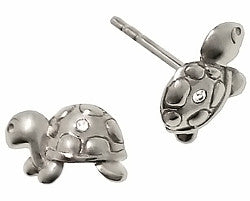 Sterling Silver Diamond Turtle Children's Earrings