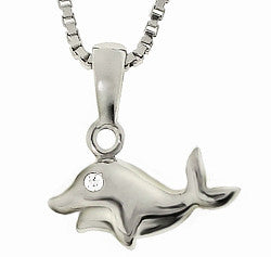 Sterling Silver Diamond Dolphin Necklace