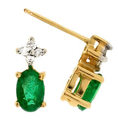 14k Yellow Gold Emerald/Diamond Earrings