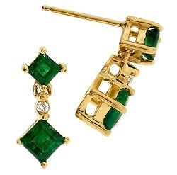 14k Yellow Gold Emerald & Diamond Earrings