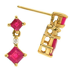 14k Yellow Gold Ruby & Diamond Earrings