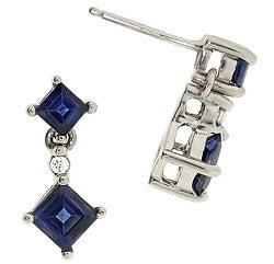 14kt White Gold Sapphire & Diamond Earrings