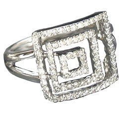 18k White Gold Diamond Ring w/ Squares
