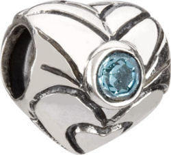 Chamilia Silver March Birthstone Heart Charm