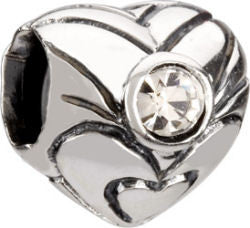 Chamilia Silver April Birthstone Heart Charm
