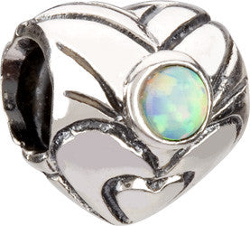 Chamilia Silver October Birthstone Heart Charm