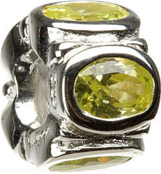 Chamilia Silver 5 Ovals Lime CZ Charm