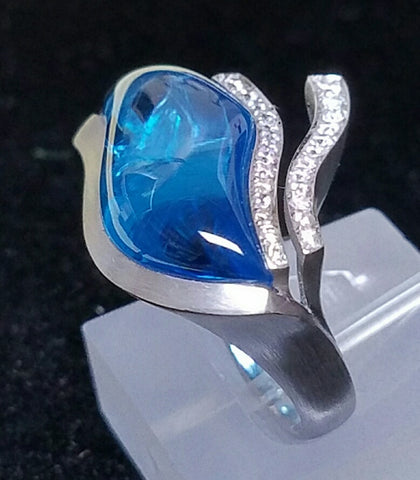 Contemporayry Blue Topaz ring