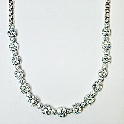 18kt white gold diamond fashion necklace.